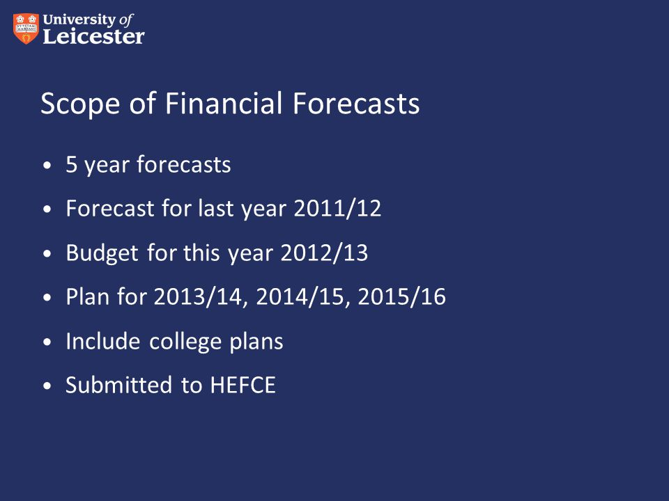Scope of Financial Forecasts 5 year forecasts Forecast for last year 2011/12 Budget for this year 2012/13 Plan for 2013/14, 2014/15, 2015/16 Include college plans Submitted to HEFCE