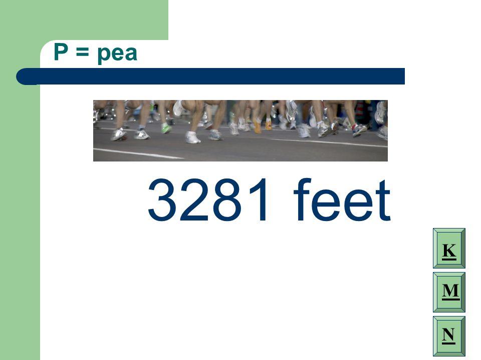 P = pea 3281 feet K M N