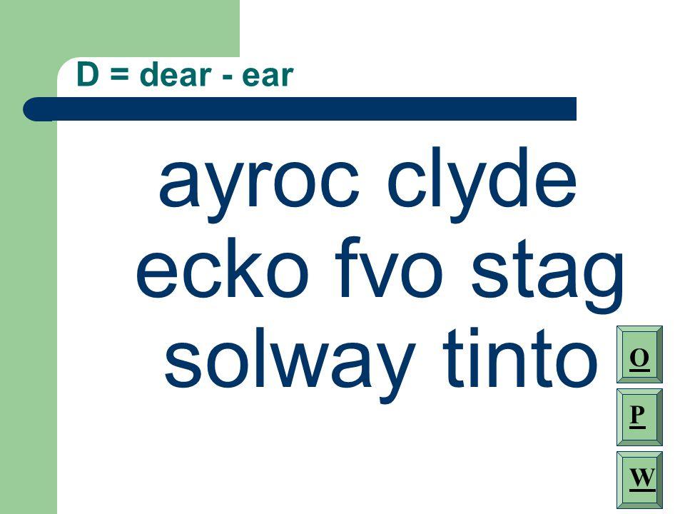 D = dear - ear ayroc clyde ecko fvo stag solway tinto O P W