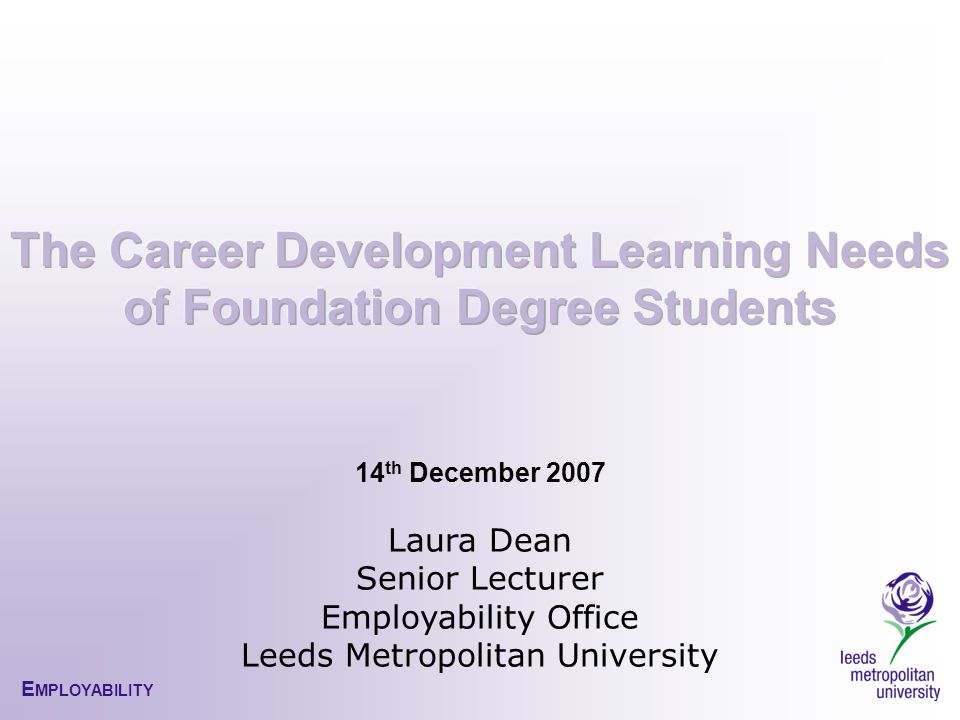 E MPLOYABILITY 14 th December 2007 Laura Dean Senior Lecturer Employability Office Leeds Metropolitan University