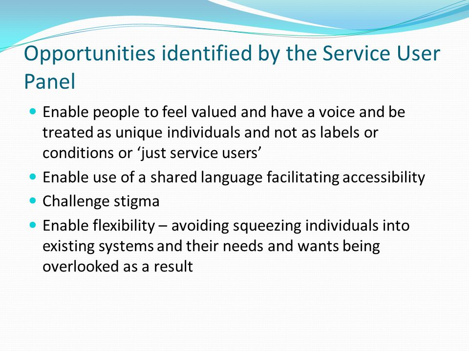 Opportunities identified by the Service User Panel Enable people to feel valued and have a voice and be treated as unique individuals and not as labels or conditions or 'just service users' Enable use of a shared language facilitating accessibility Challenge stigma Enable flexibility – avoiding squeezing individuals into existing systems and their needs and wants being overlooked as a result