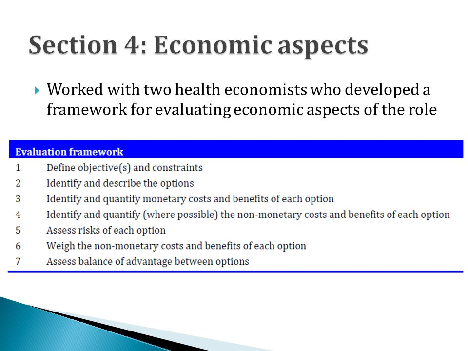  Worked with two health economists who developed a framework for evaluating economic aspects of the role