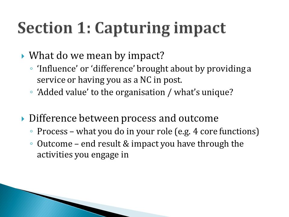  What do we mean by impact.
