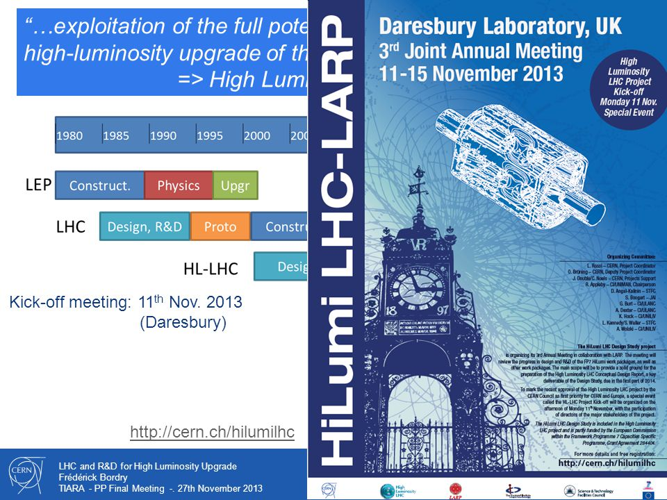 """33 LHC and R&D for High Luminosity Upgrade Frédérick Bordry TIARA - PP Final Meeting -. 27th November 2013 today """"…exploitation of the full potential"""
