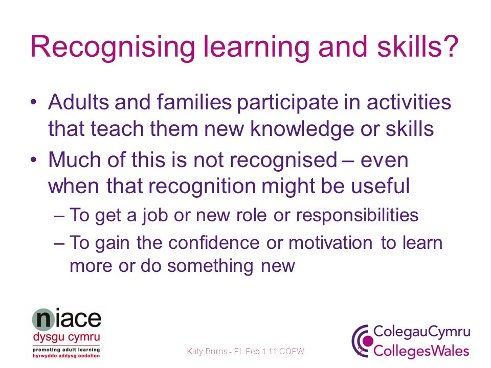 Recognising learning and skills.