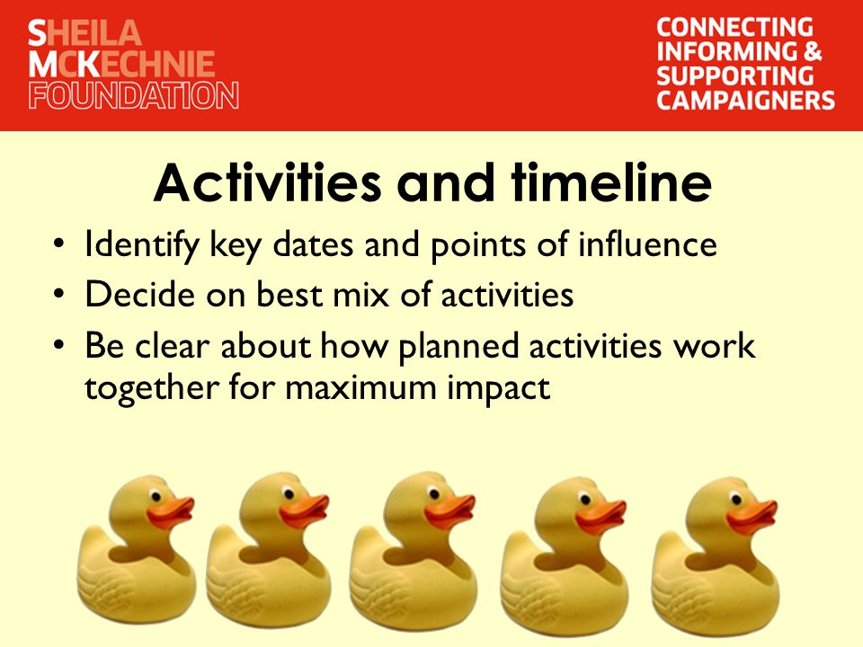 Activities and timeline Identify key dates and points of influence Decide on best mix of activities Be clear about how planned activities work together for maximum impact