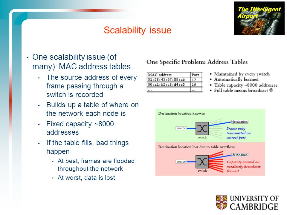 The INtelligent Airport Scalability issue One scalability issue (of many): MAC address tables The source address of every frame passing through a switch is recorded Builds up a table of where on the network each node is Fixed capacity ~8000 addresses If the table fills, bad things happen At best, frames are flooded throughout the network At worst, data is lost