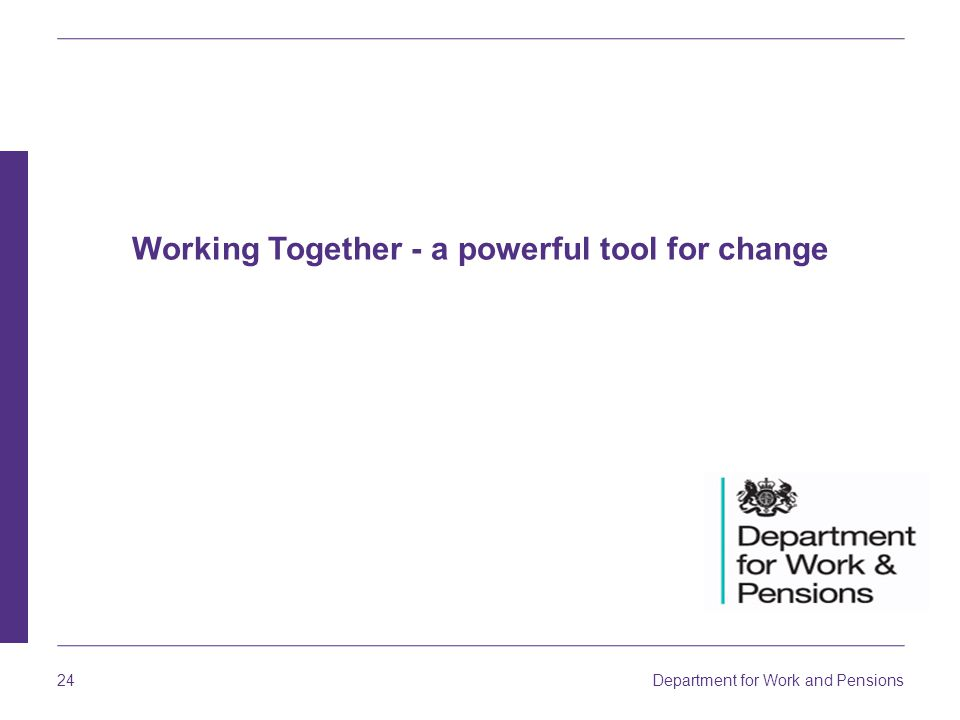 Department for Work and Pensions 24 Working Together - a powerful tool for change