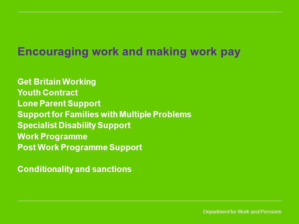 Department for Work and Pensions Encouraging work and making work pay Get Britain Working Youth Contract Lone Parent Support Support for Families with