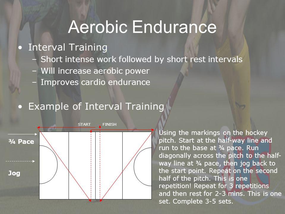 Aerobic Endurance Interval Training –Short intense work followed by short rest intervals –Will increase aerobic power –Improves cardio endurance Examp