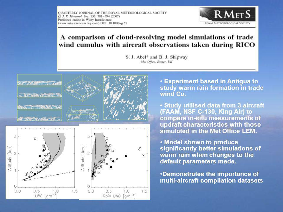 Experiment based in Antigua to study warm rain formation in trade wind Cu. Study utilised data from 3 aircraft (FAAM, NSF C-130, King Air) to compare