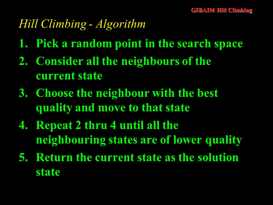 G5BAIM Hill Climbing Example of Local Search Algorithm : Hill Climbing Local optimum Initial solution Global optimum Neighbourhood of solution