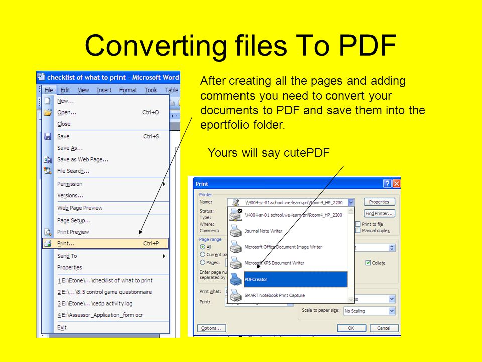 Converting files To PDF After creating all the pages and adding comments you need to convert your documents to PDF and save them into the eportfolio folder.