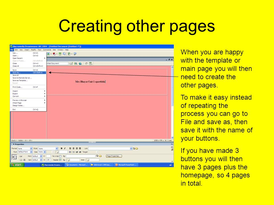 Linking pages In order to link the other pages you shall need to double click on the buttons to open the properties box and then click on browse and find the page you want to link it to.
