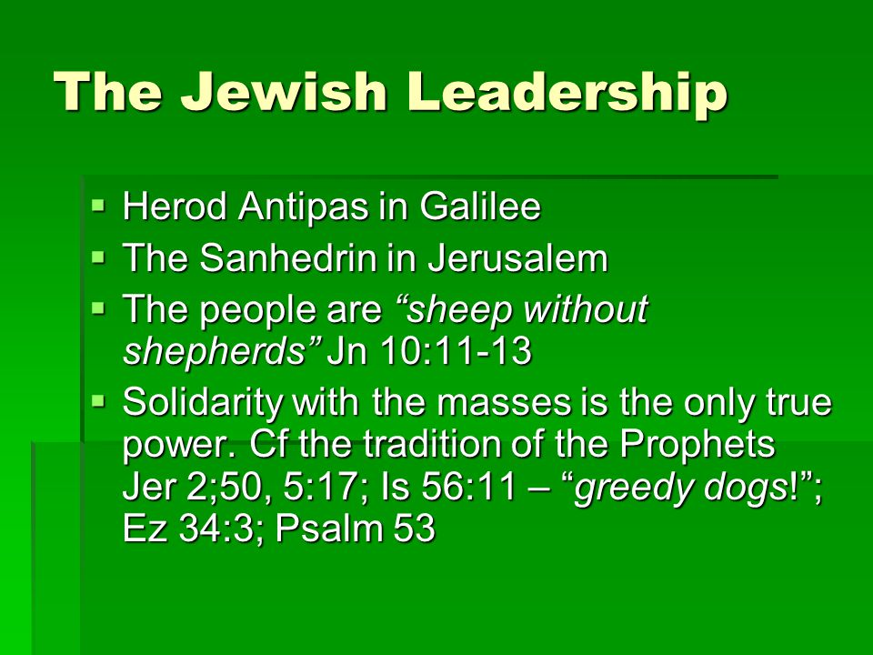 The Jewish Leadership  Herod Antipas in Galilee  The Sanhedrin in Jerusalem  The people are sheep without shepherds Jn 10:11-13  Solidarity with the masses is the only true power.