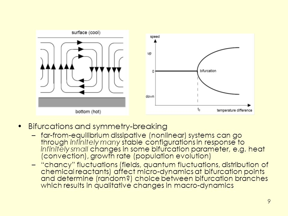 Bifurcations and symmetry-breaking –far-from-equilibrium dissipative (nonlinear) systems can go through infinitely many stable configurations in response to infinitely small changes in some bifurcation parameter, e.g.