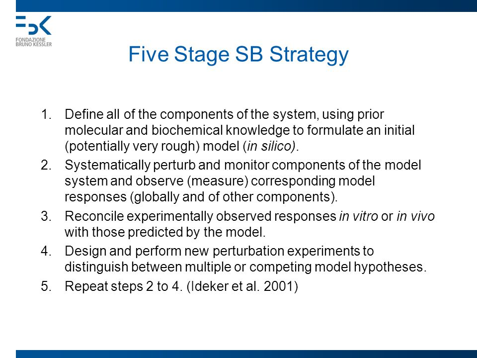 Five Stage SB Strategy 1.Define all of the components of the system, using prior molecular and biochemical knowledge to formulate an initial (potentia