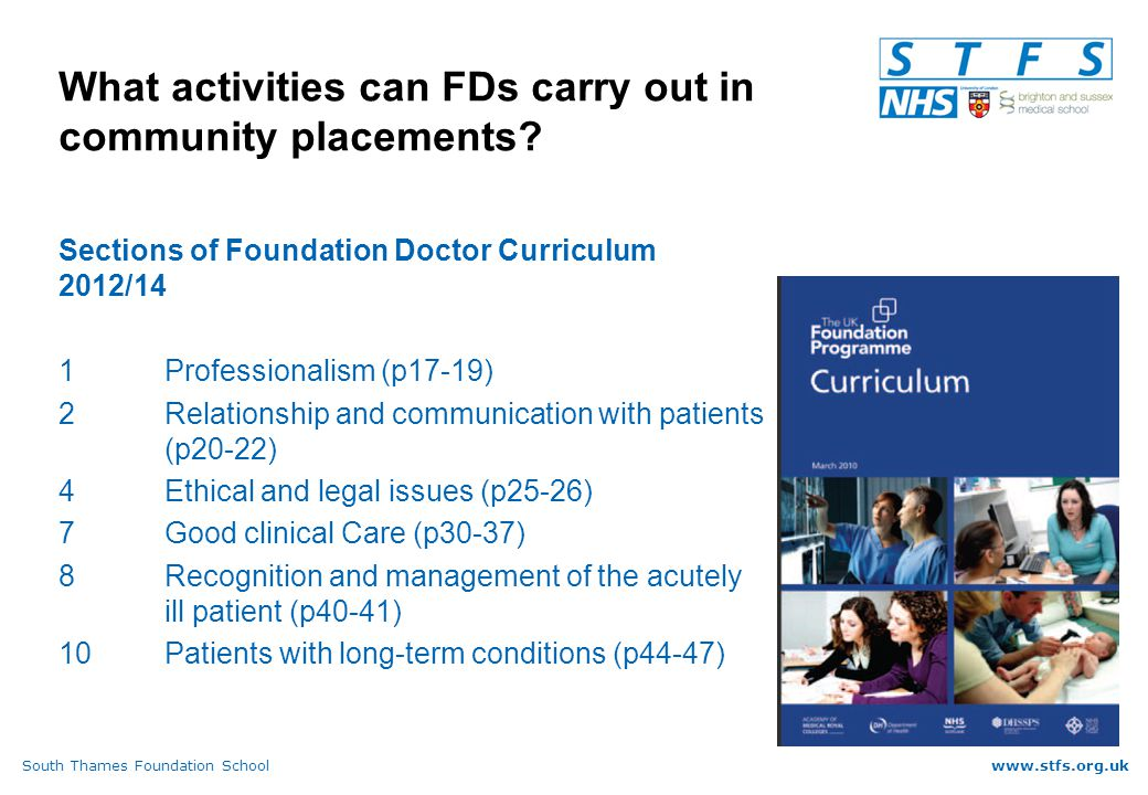 South Thames Foundation Schoolwww.stfs.org.uk What activities can FDs carry out in community placements.