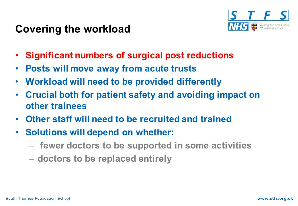 South Thames Foundation Schoolwww.stfs.org.uk Covering the workload Significant numbers of surgical post reductions Posts will move away from acute trusts Workload will need to be provided differently Crucial both for patient safety and avoiding impact on other trainees Other staff will need to be recruited and trained Solutions will depend on whether: – fewer doctors to be supported in some activities –doctors to be replaced entirely
