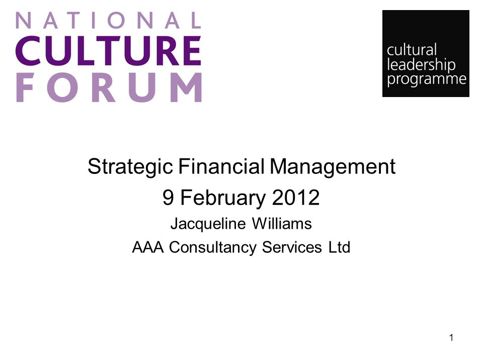 Strategic Financial Management 9 February 2012 Jacqueline Williams AAA Consultancy Services Ltd 1