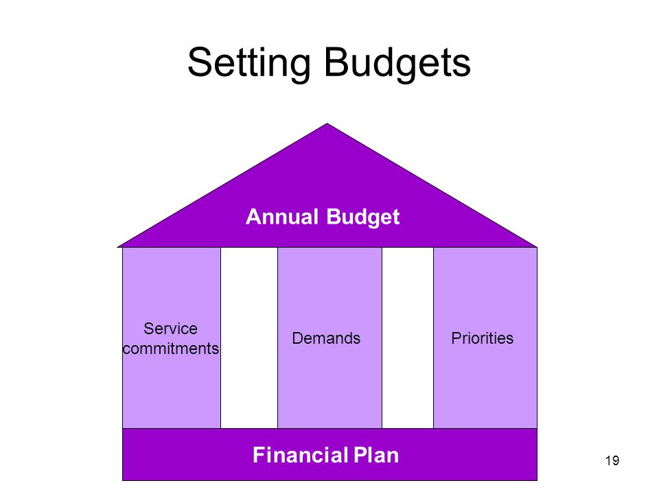 Setting Budgets Service commitments DemandsPriorities Annual Budget Financial Plan 19
