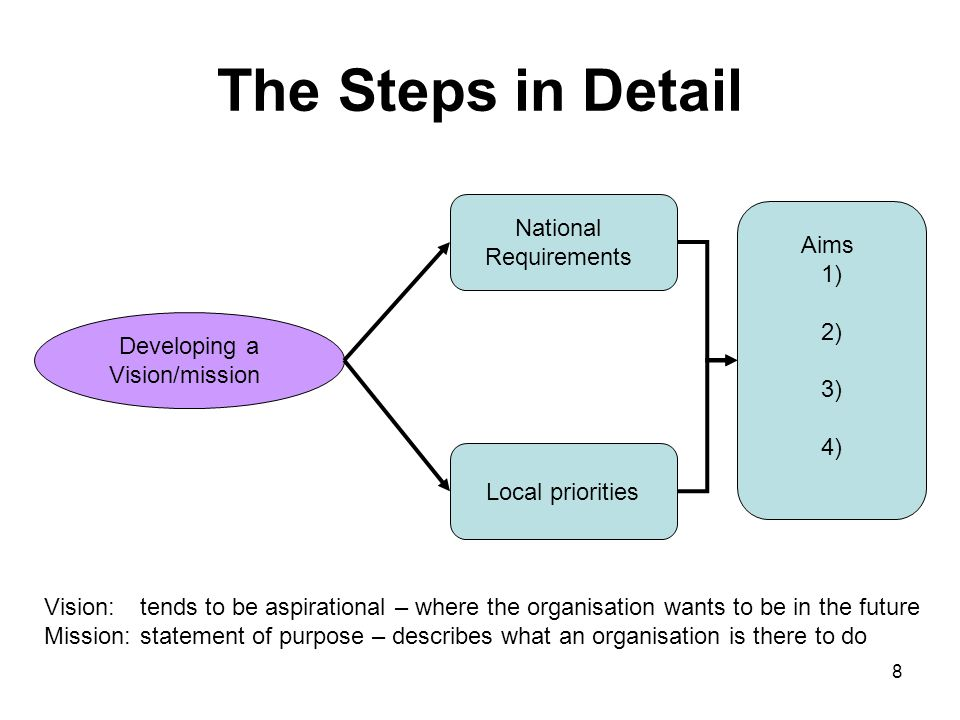 The Steps in Detail Developing a Vision/mission National Requirements Local priorities Aims 1) 2) 3) 4) Vision: tends to be aspirational – where the organisation wants to be in the future Mission: statement of purpose – describes what an organisation is there to do 8