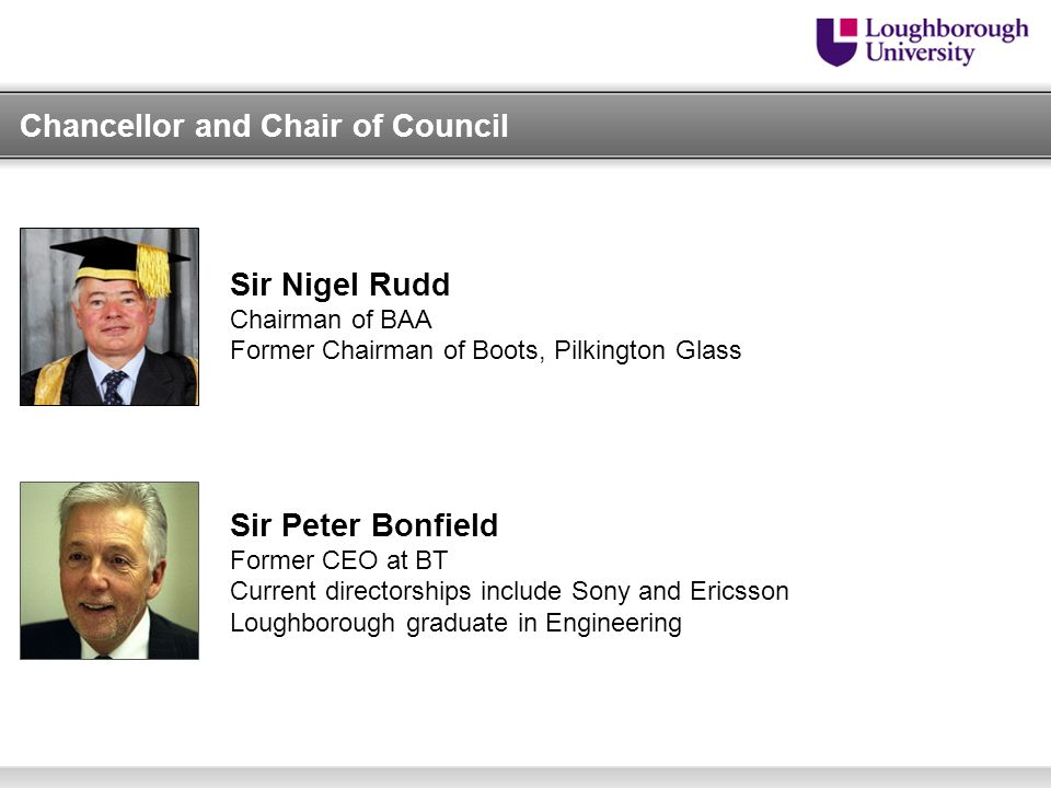 Chancellor and Chair of Council Sir Nigel Rudd Chairman of BAA Former Chairman of Boots, Pilkington Glass Sir Peter Bonfield Former CEO at BT Current directorships include Sony and Ericsson Loughborough graduate in Engineering