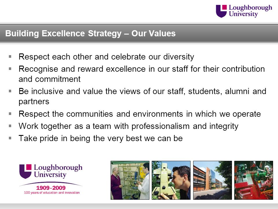 Building Excellence Strategy – Our Values  Respect each other and celebrate our diversity  Recognise and reward excellence in our staff for their contribution and commitment  Be inclusive and value the views of our staff, students, alumni and partners  Respect the communities and environments in which we operate  Work together as a team with professionalism and integrity  Take pride in being the very best we can be