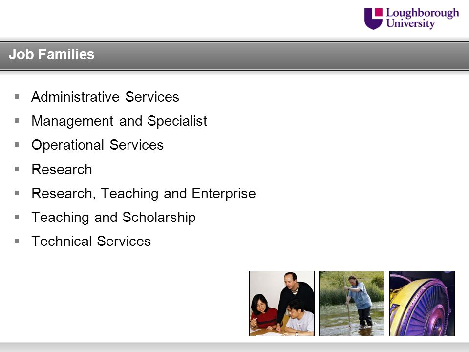 Job Families  Administrative Services  Management and Specialist  Operational Services  Research  Research, Teaching and Enterprise  Teaching and Scholarship  Technical Services