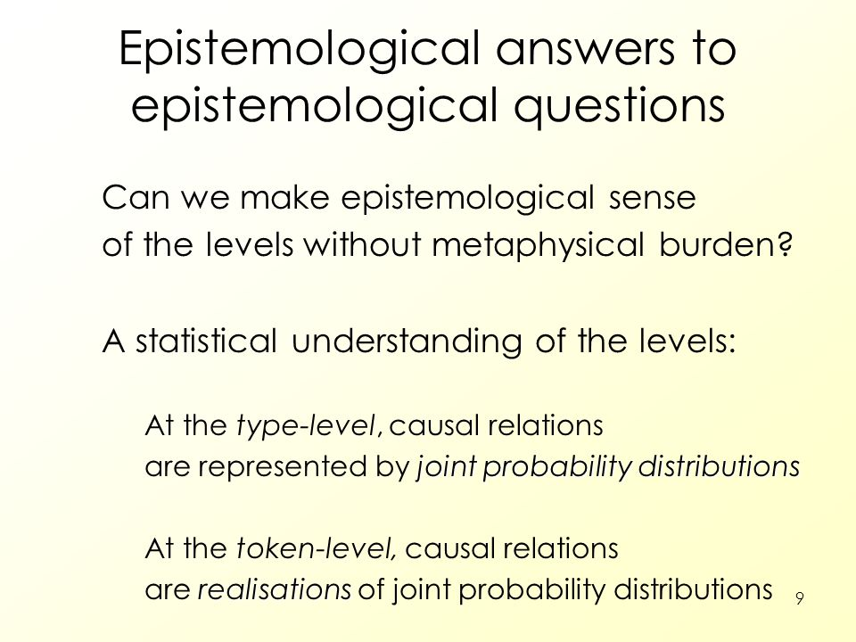 9 Epistemological answers to epistemological questions Can we make epistemological sense of the levels without metaphysical burden? A statistical unde