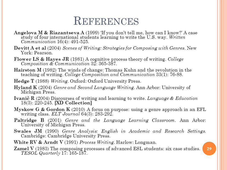R EFERENCES Angelova M & Riazantseva A (1999) 'If you don't tell me, how can I know?' A case study of four international students learning to write th