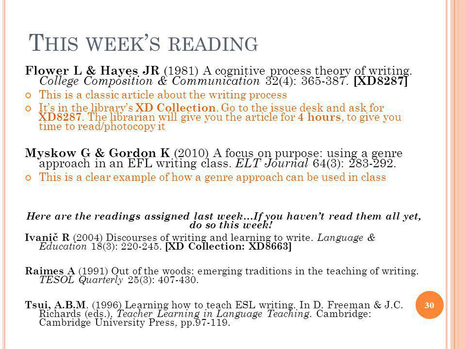 T HIS WEEK ' S READING Flower L & Hayes JR (1981) A cognitive process theory of writing. College Composition & Communication 32(4): 365-387. [XD8287]