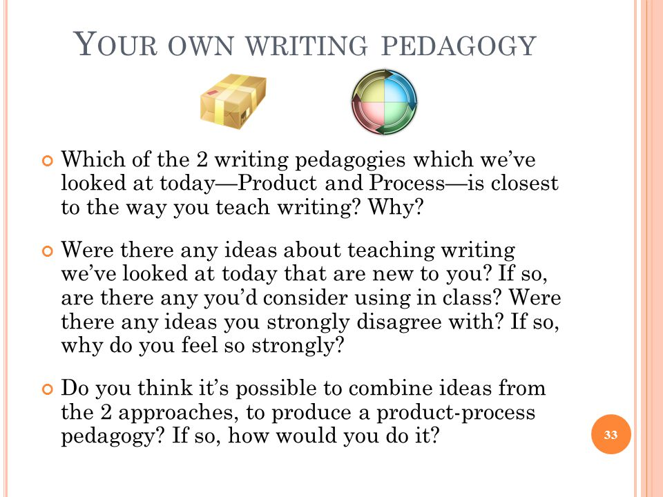 Y OUR OWN WRITING PEDAGOGY Which of the 2 writing pedagogies which we've looked at today—Product and Process—is closest to the way you teach writing?