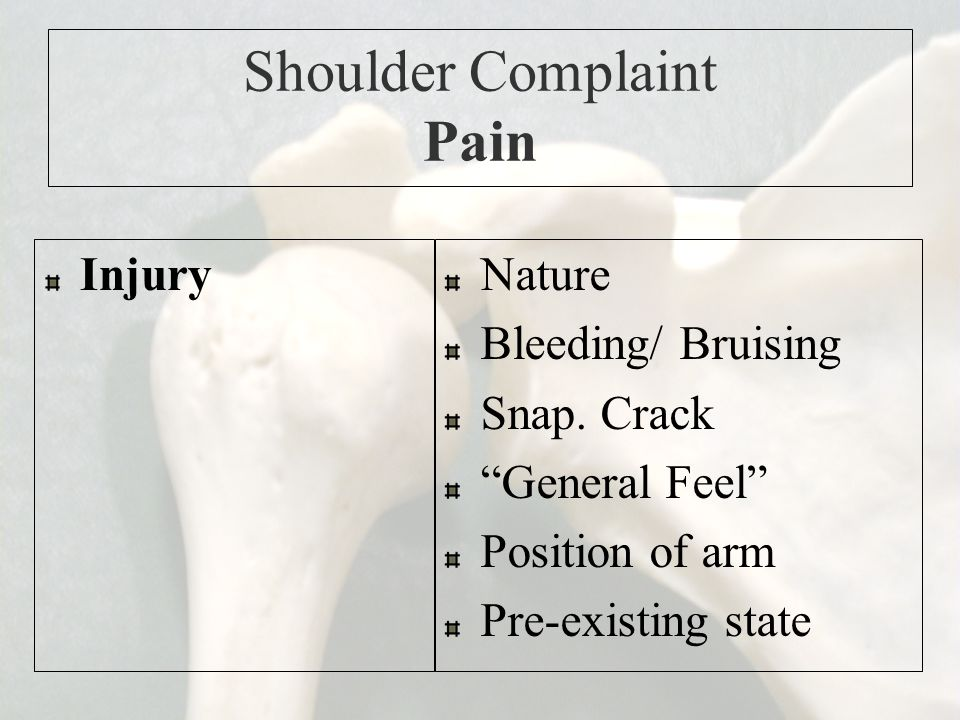 """Shoulder Complaint Pain InjuryNature Bleeding/ Bruising Snap. Crack """"General Feel"""" Position of arm Pre-existing state"""