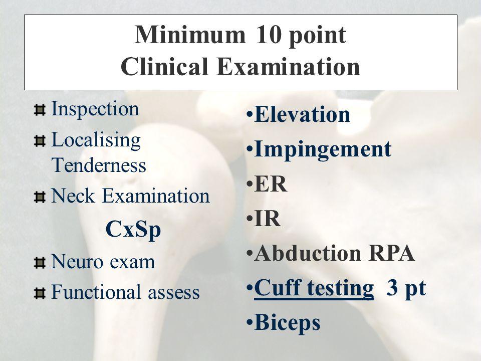 Minimum 10 point Clinical Examination Inspection Localising Tenderness Neck Examination CxSp Neuro exam Functional assess Elevation Impingement ER IR