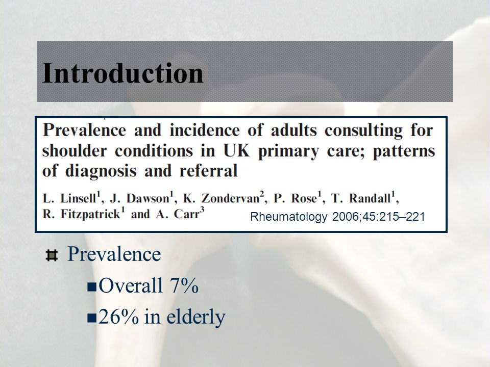 Introduction Prevalence Overall 7% 26% in elderly Rheumatology 2006;45:215–221