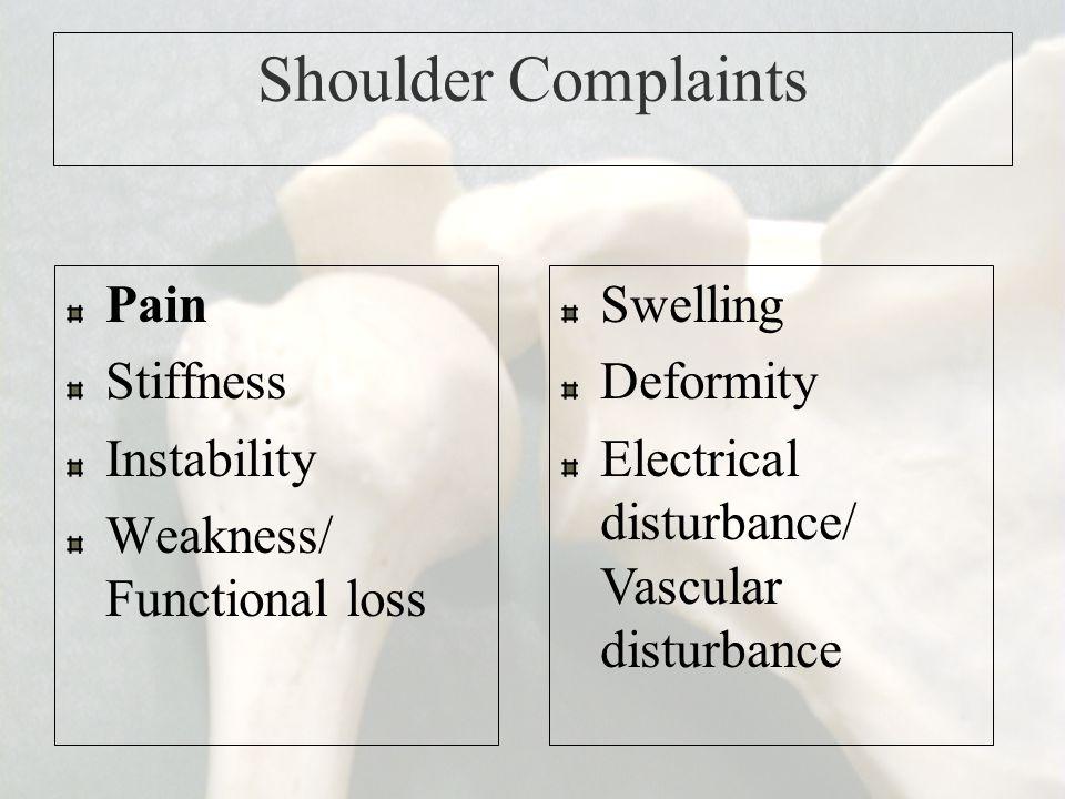 Shoulder Complaints Pain Stiffness Instability Weakness/ Functional loss Swelling Deformity Electrical disturbance/ Vascular disturbance