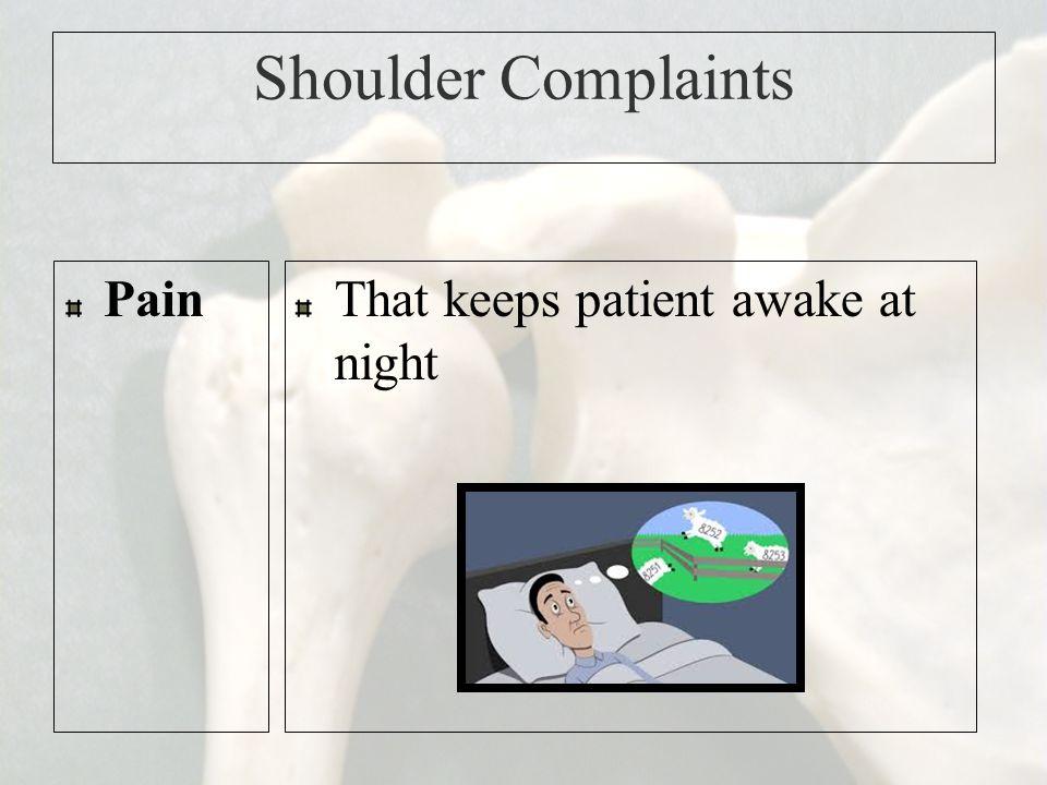 Shoulder Complaints PainThat keeps patient awake at night