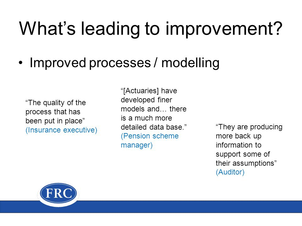 What's leading to improvement.