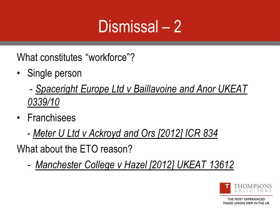 Dismissal – 2 What constitutes workforce .