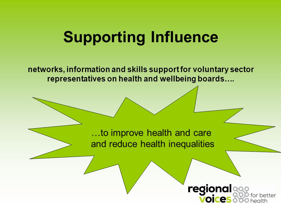 Supporting Influence networks, information and skills support for voluntary sector representatives on health and wellbeing boards….