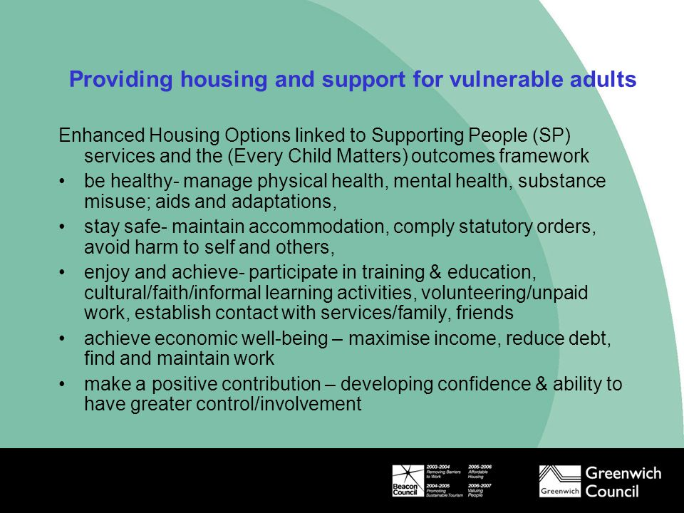 Housing Support to achieve positive outcomes Mental Health Resettlement Team Hospital Discharge Team Community Team Family Support Team Moving On Support Team (MOST)  Over 500 clients  7% in employment or training  6% want support with finding work  11% with training/education