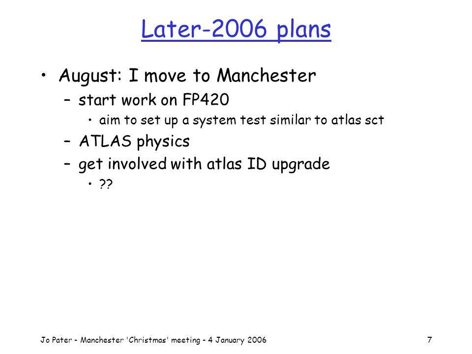 Jo Pater - Manchester Christmas meeting - 4 January 20067 Later-2006 plans August: I move to Manchester –start work on FP420 aim to set up a system test similar to atlas sct –ATLAS physics –get involved with atlas ID upgrade