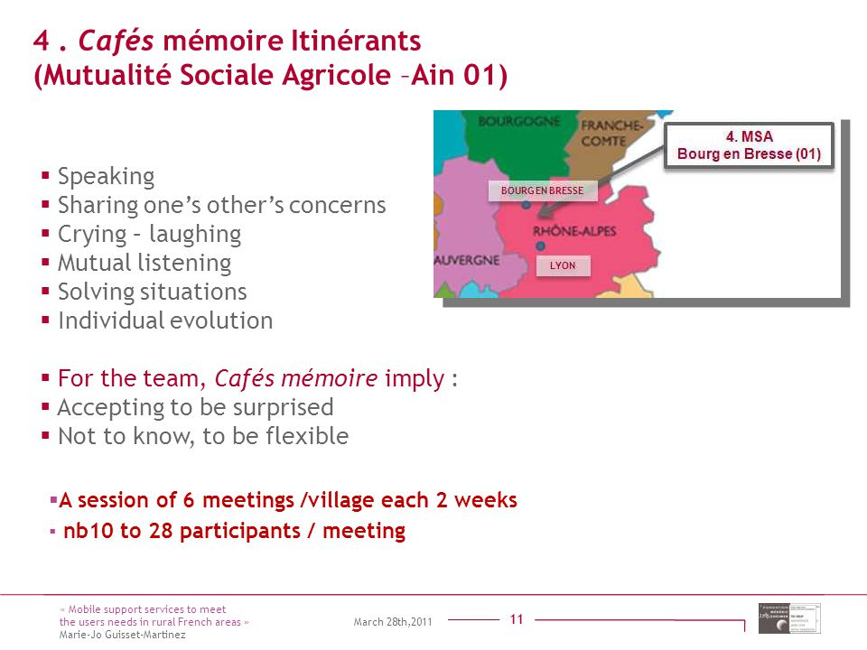 Titre présentation Sous titre Intervenant 11  Speaking  Sharing one's other's concerns  Crying – laughing  Mutual listening  Solving situations 