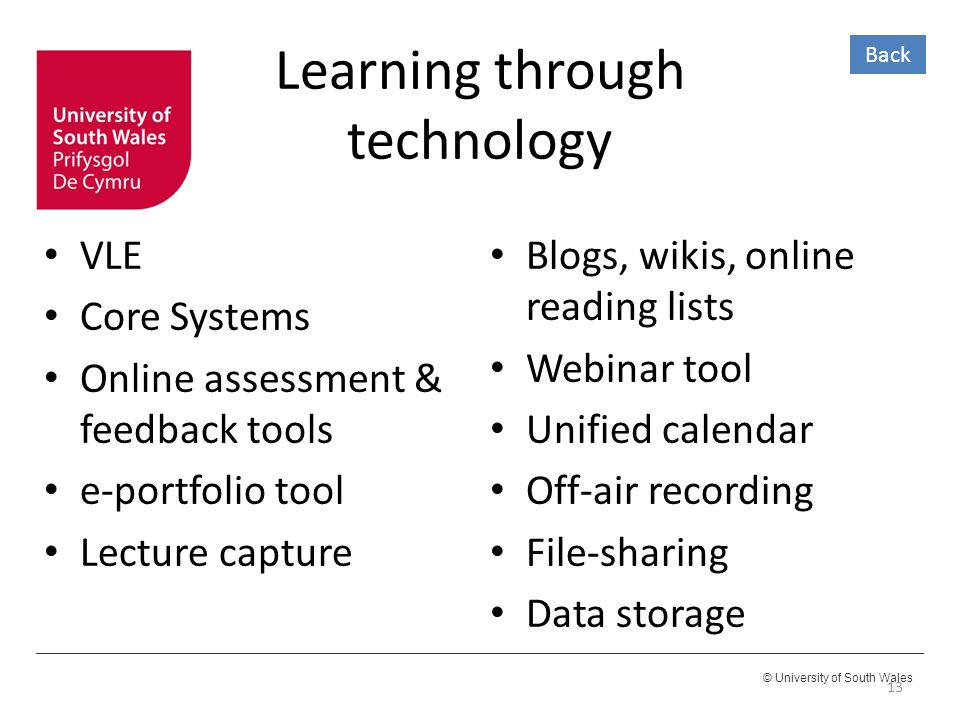 © University of South Wales Learning through technology VLE Core Systems Online assessment & feedback tools e-portfolio tool Lecture capture 13 Blogs, wikis, online reading lists Webinar tool Unified calendar Off-air recording File-sharing Data storage Back