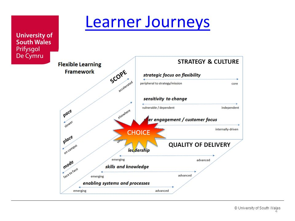 © University of South Wales Learner Journeys 4 CHOICE