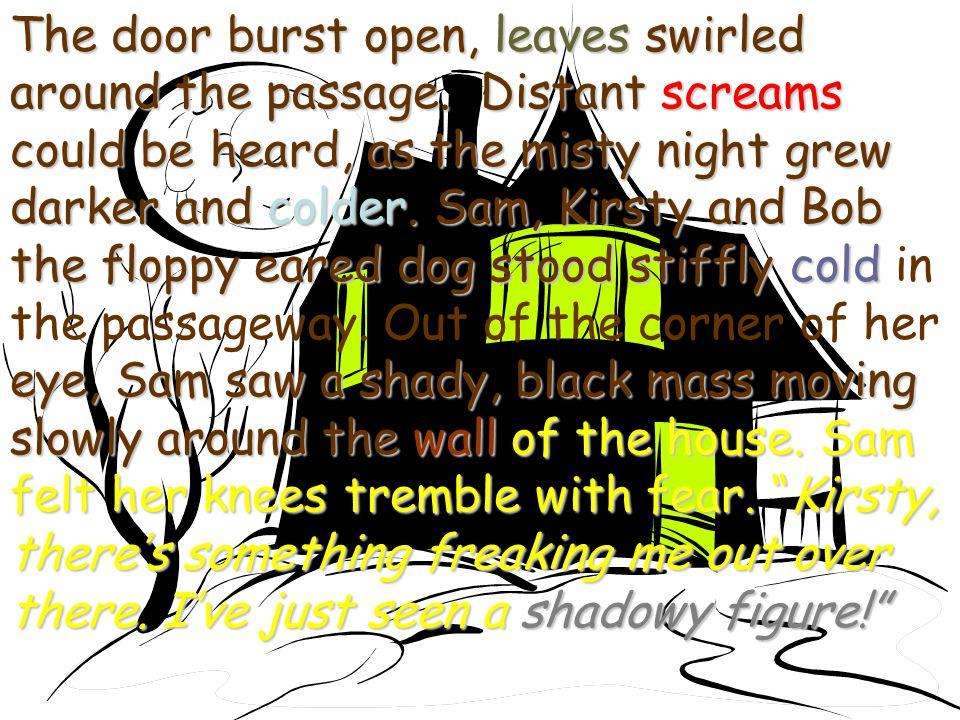 The door burst open, leaves swirled around the passage.