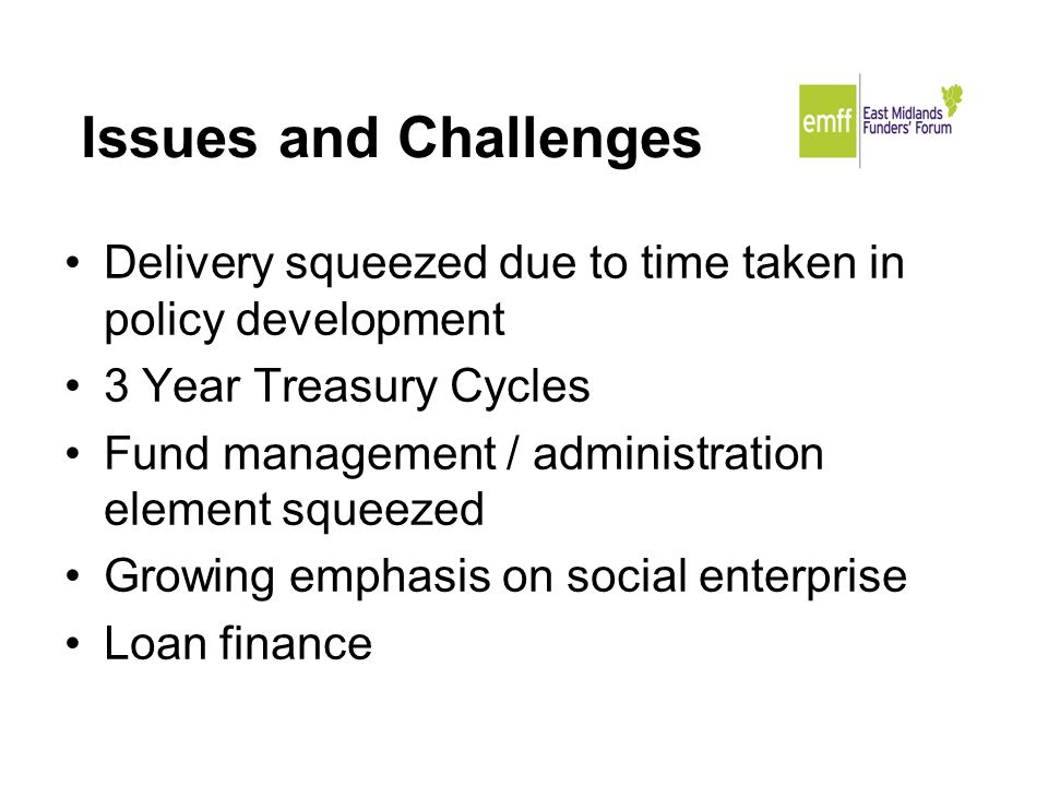 Issues and Challenges Delivery squeezed due to time taken in policy development 3 Year Treasury Cycles Fund management / administration element squeezed Growing emphasis on social enterprise Loan finance