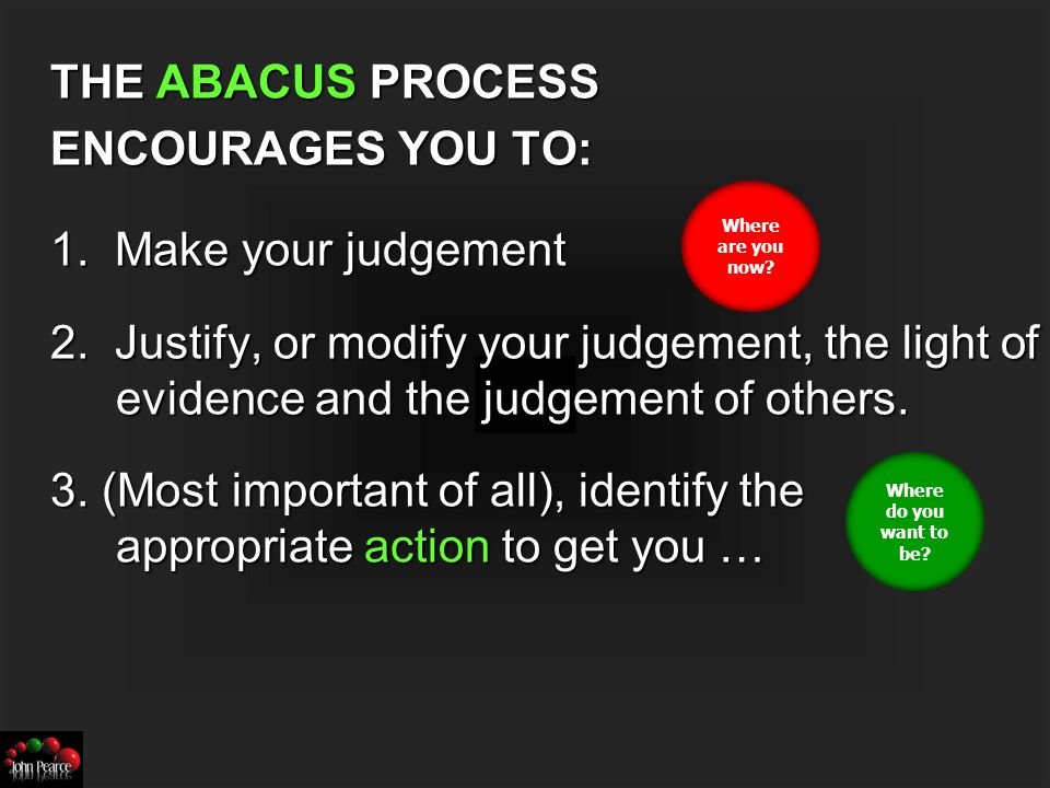 Self-evaluation Abacus © John Pearce 2006 A2.1 Attainment A2.2 Learning and progress A2.4 Pupils achievement and the extent to which they enjoy their learning A2.6 Pupils' behaviour A2.8 The extent to which pupils contribute to the school and wider community A2.10 Workplace and other skills that will contribute to their future economic well- being A2.11 Spiritual, moral, social and cultural development A4.1 Leadership and management in ambition and driving improvement A8.2 Capacity for sustained improvement A8.3 Overall effectiveness OutstandingGoodSatisfactoryInadequate Criteria for judgement Slide the beads to where you judge the school to be on each criteria Compare judgements with colleagues Discuss evidence that challenges or supports each judgement… Then agree the judgement.