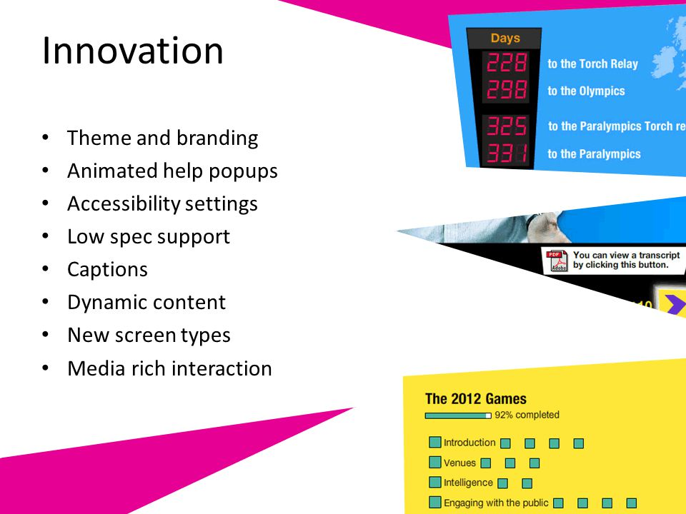 Innovation Theme and branding Animated help popups Accessibility settings Low spec support Captions Dynamic content New screen types Media rich intera